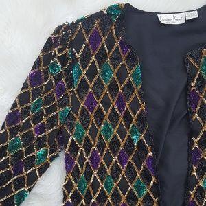 {Vintage} Laurence Kazar Beaded Sequin Jacket